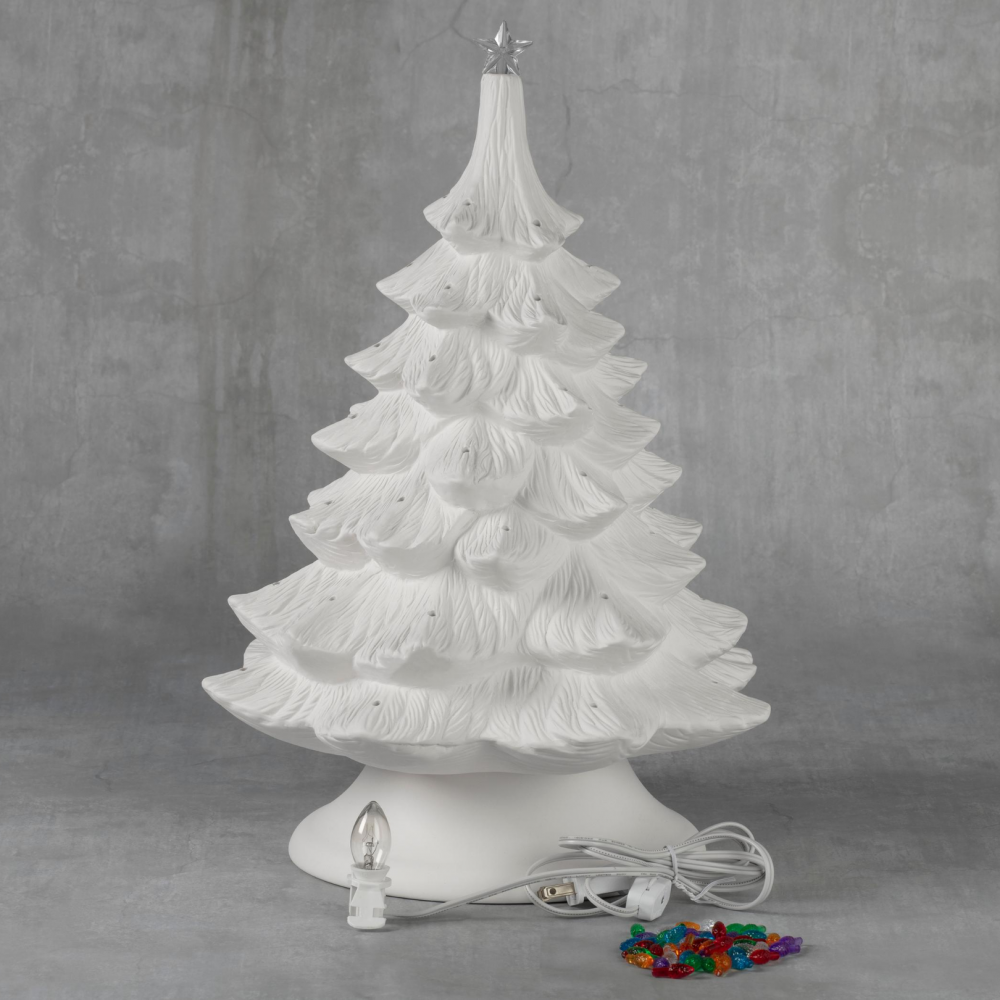 Christmas Tree - 17 inch with base, lights and star - Case of 1