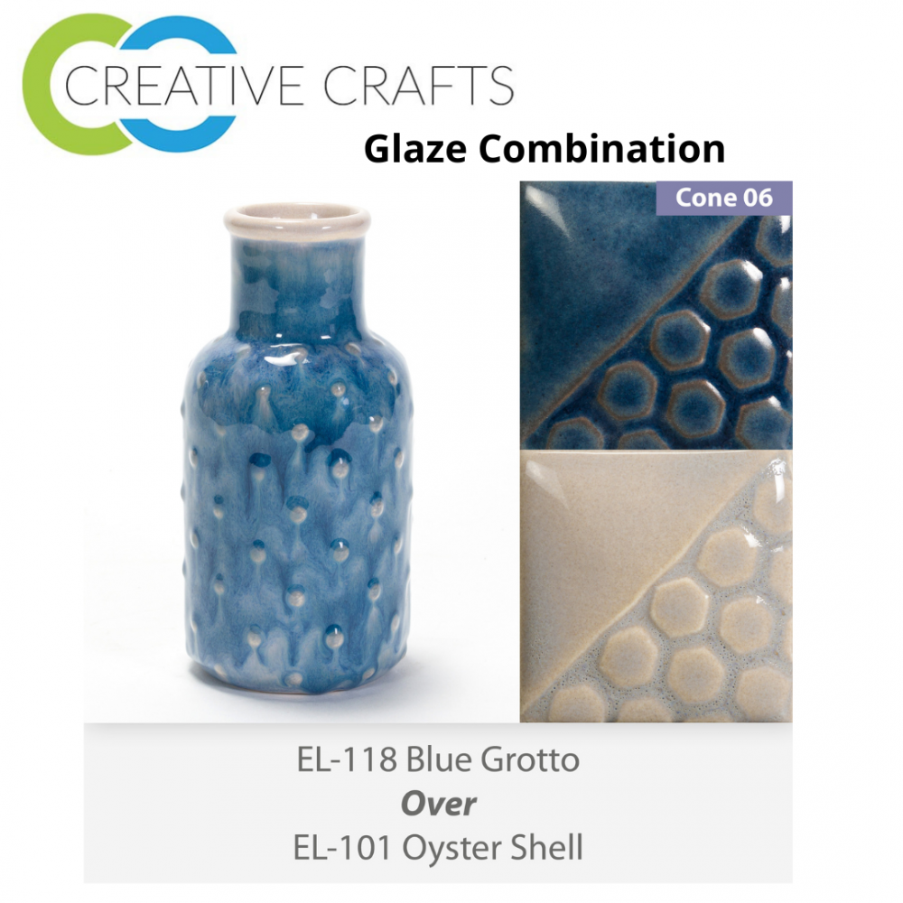 Blue Grotto EL118 over Oyster Shell EL101 Glaze Combination