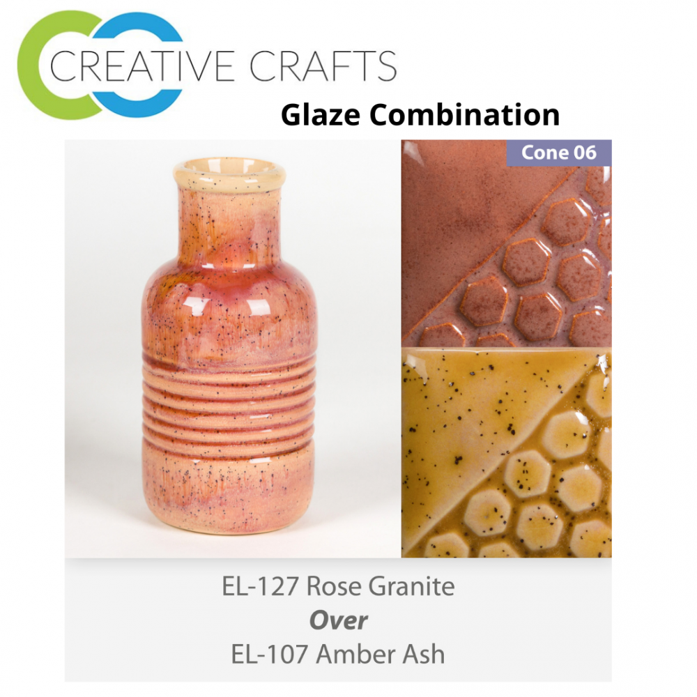 Rose Granite EL127 over Amber Ash EL107 Glaze Combination