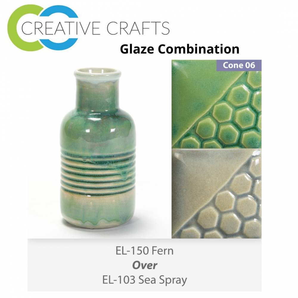 Fern EL150 over Sea Spray EL103 Glaze Combination