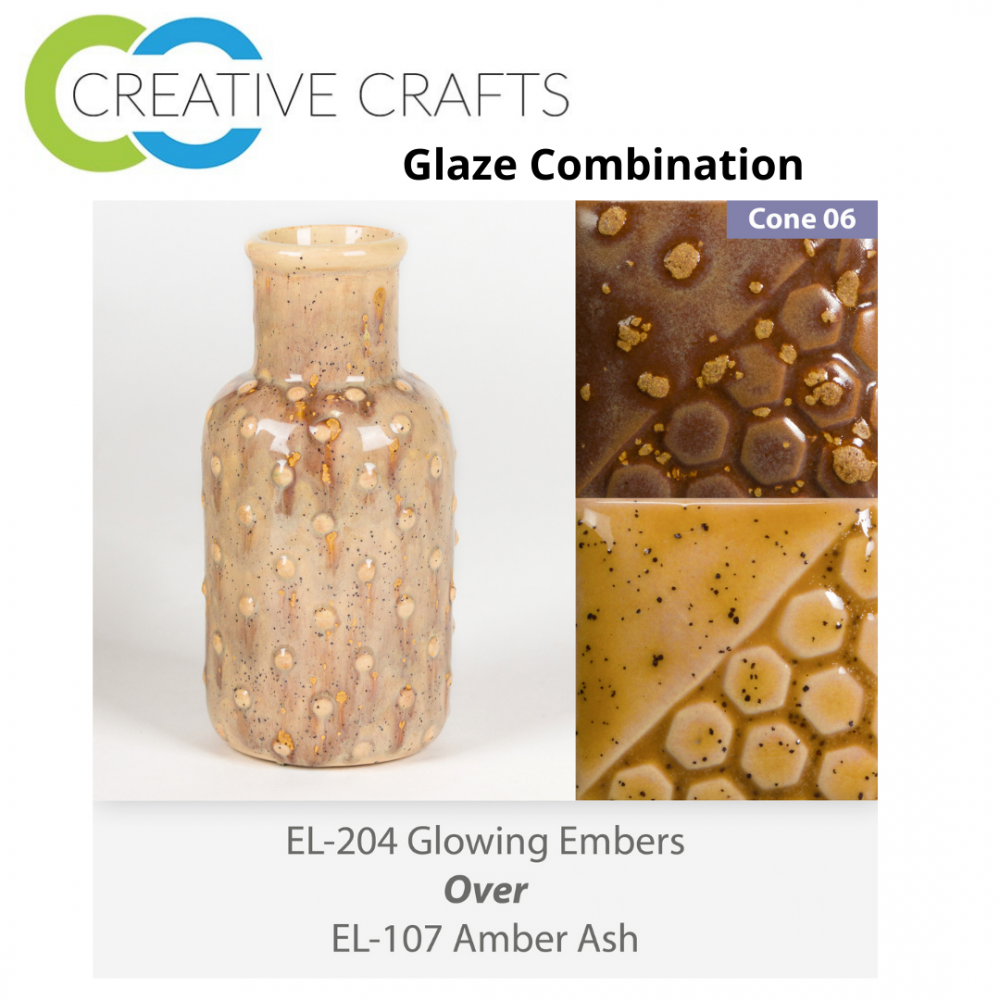 Glowing Embers EL204 over Amber Ash EL107 Glaze Combination