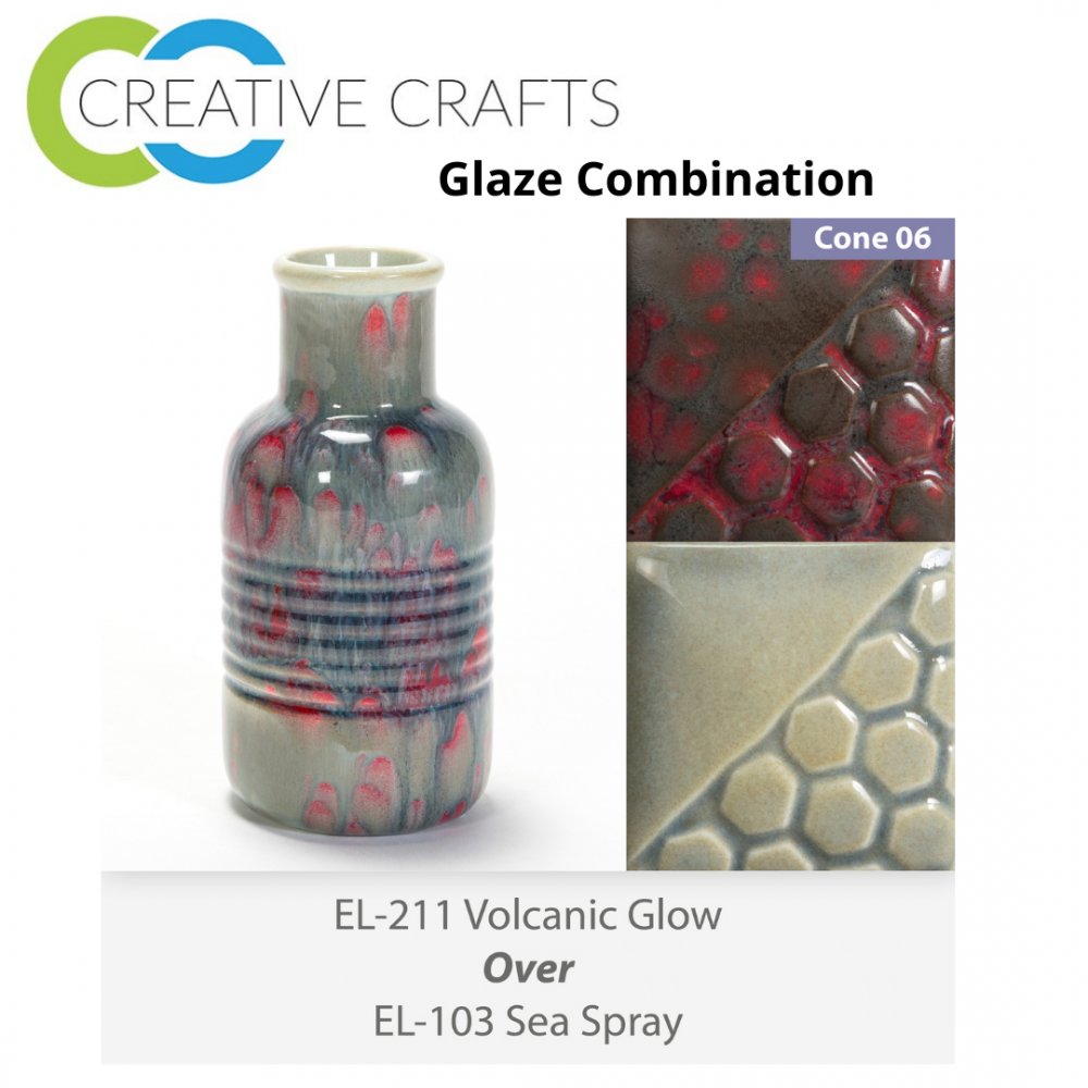 Volcanic Glow EL211 over Sea Spray EL103 Glaze Combination