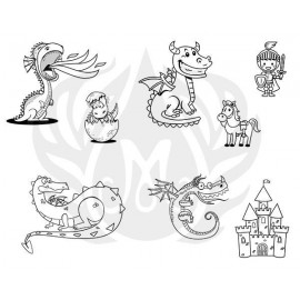 Cute Dragons Designer Silk Screen
