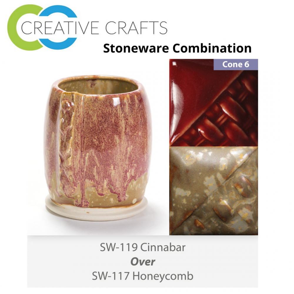Cinnabar SW-119 over Honeycomb SW-117 Stoneware Glaze Combination