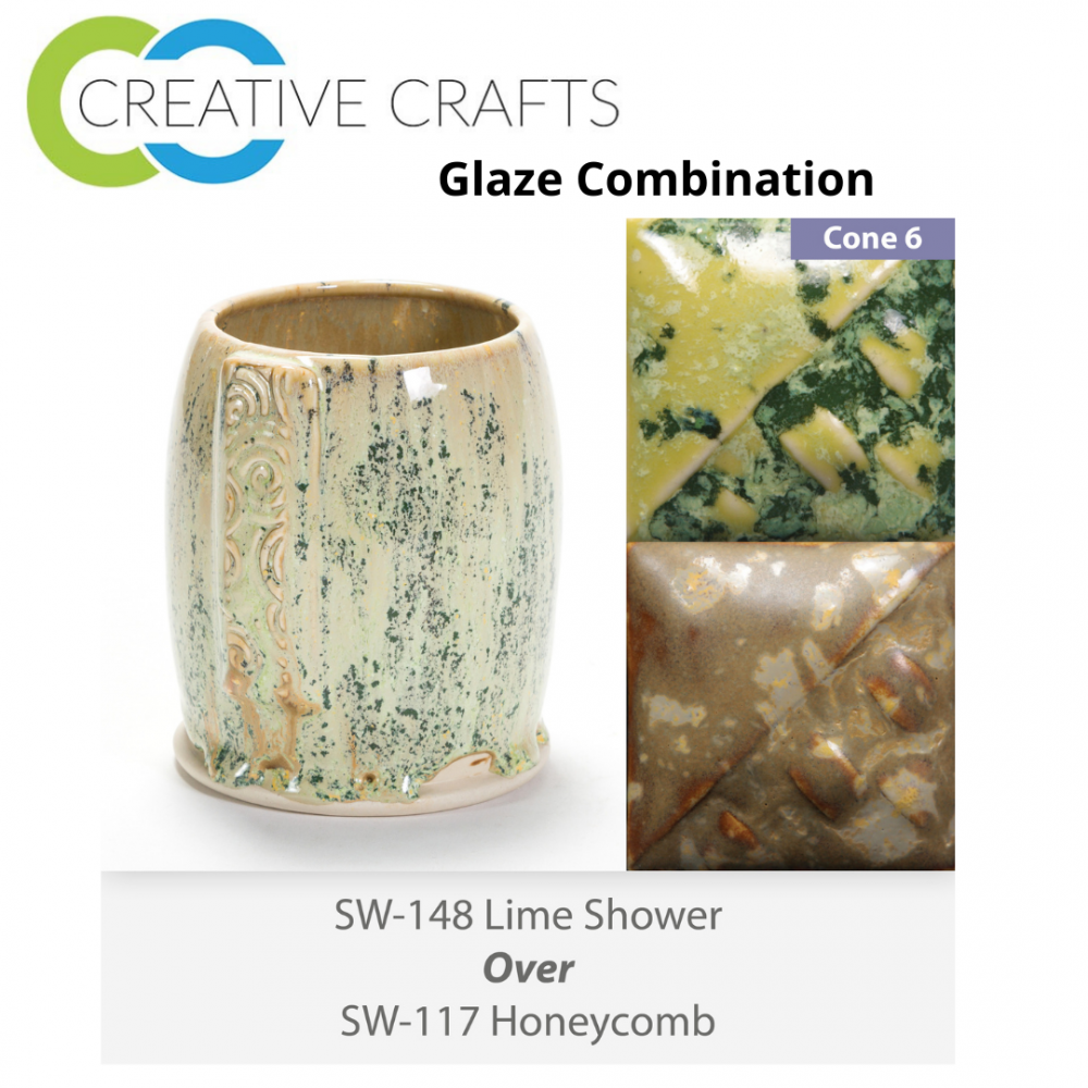 Lime Shower SW-148 over Honeycomb SW-117 Stoneware Combination