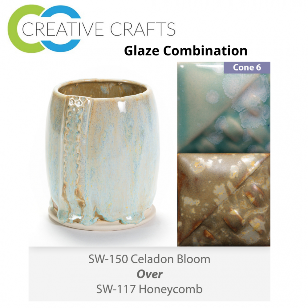 Celadon Bloom SW-150 over Honeycomb SW-117 Stoneware Combination