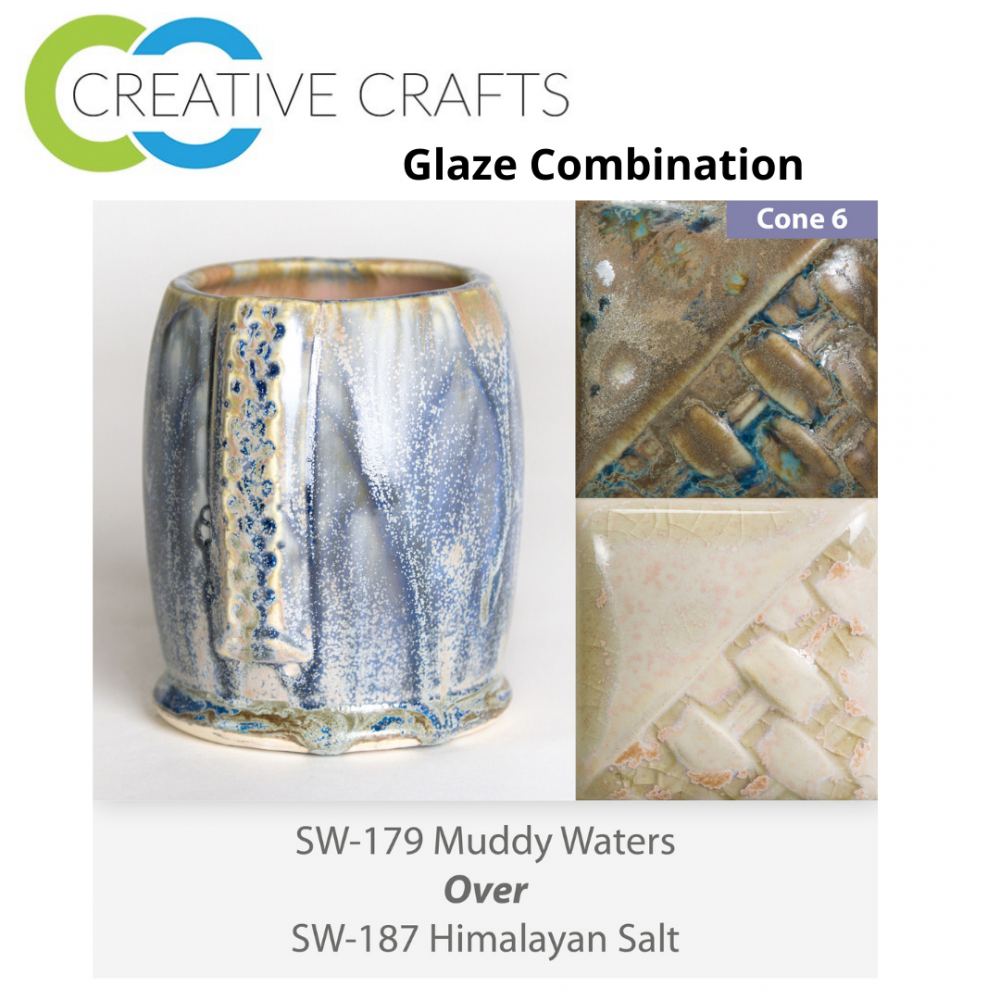 Muddy Waters SW-179 over Himalayan Salt SW-187 Stoneware Glaze Combination
