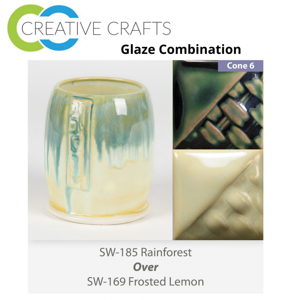 Rainforest SW185 over Frosted Lemon SW169 Stoneware Glaze Combination