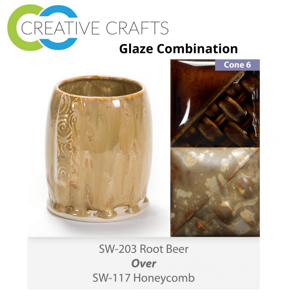 Root Beer SW-203 over Honeycomb SW-117 Stoneware Glaze Combination