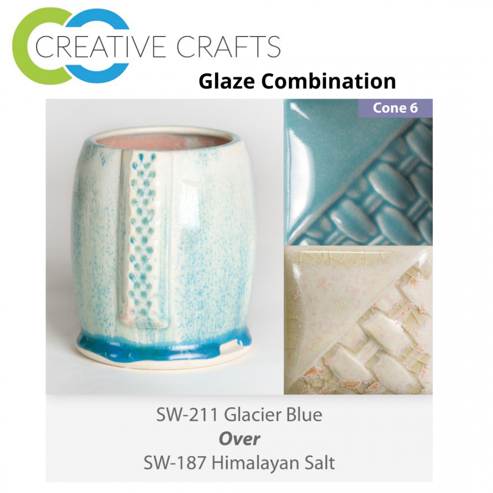 Glacier Blue SW-211 over Himalayan Salt SW-187 Stoneware Glaze Combination